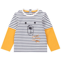 Camiseta de manga larga con efecto 2 en 1 de algodón ecológico con osito estampado