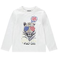 Camiseta de manga larga de punto con dibujo de fantasía estampado
