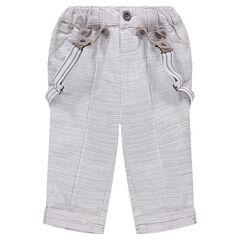 Pantalón de algodón de rayas con tirantes extraíbles