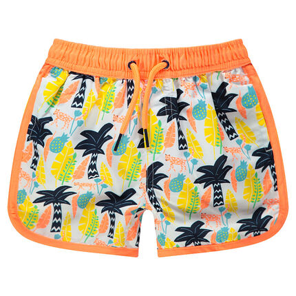 Pantalón corto de baño con palmeras estampadas all over