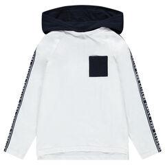 Júnior- Camiseta de manga larga con capucha, banda y bolsillo en contraste