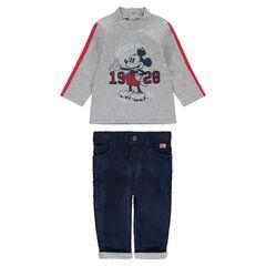 Conjunto de camiseta estampada ©Disney Mickey y pantalón de terciopelo