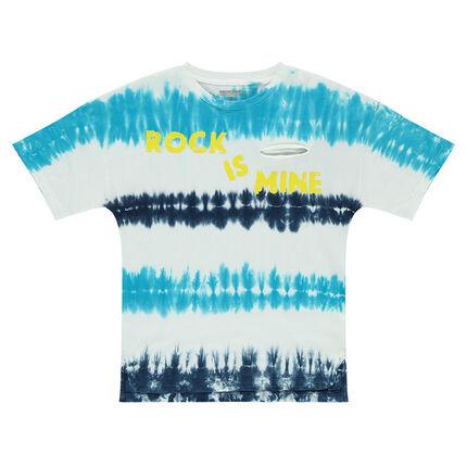 Júnior - Camiseta de manga corta de punto con efecto shibori e inscripción