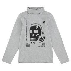 Júnior - Camiseta de cuello vuelto con calavera y dibujos estampados