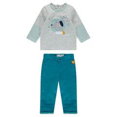 Conjunto de camiseta de punto con estampado de perro y pantalón de algodón teñido