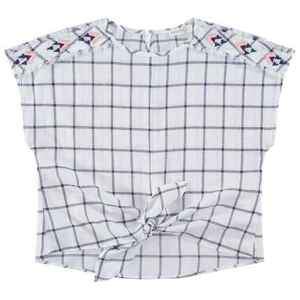 Junior - Vestido de cuadros con bordados y lazos que se anudan