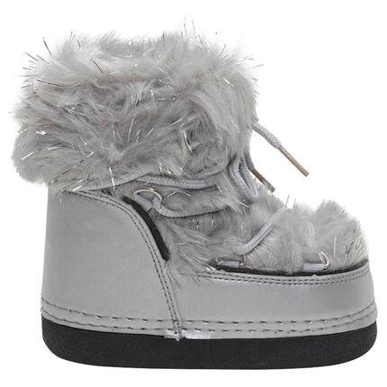 Botas de nieve con pelo falso mezclado con hilo plateado de la 20 a la 23