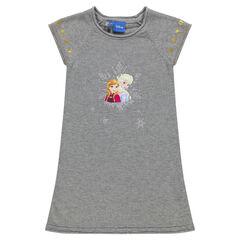 Vestido manga corta de punto con estrellas doradas con estampado La Reina de las nieves Disney