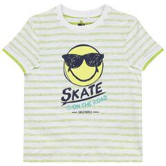 camiseta mangas cortas con reverso de rayas y print Smiley