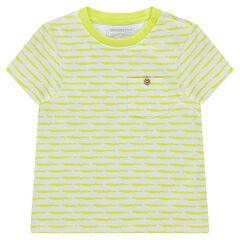 Camiseta de manga corta de punto con rayas de fantasía y bolsillo