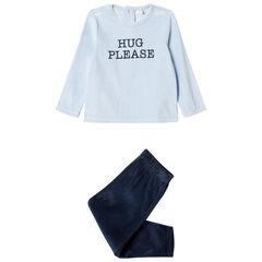 Pijama de terciopelo con mensaje estampado