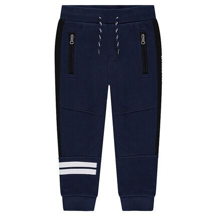 Pantalón de chándal con bandas estampadas y bolsillos con cremallera