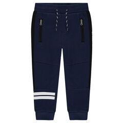 Júnior - Pantalón de chándal con bandas estampadas y bolsillos con cremallera