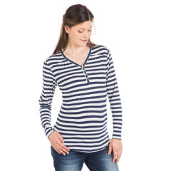 Camiseta con cuello tunecino manga larga para el embarazo