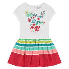 Vestido de manga corta con flores estampadas y rayas que contrastan