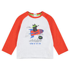 Camiseta de manga larga bicolor de punto con osito estampado