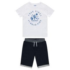 Júnior - Conjunto de camiseta estampada con bermudas de muletón
