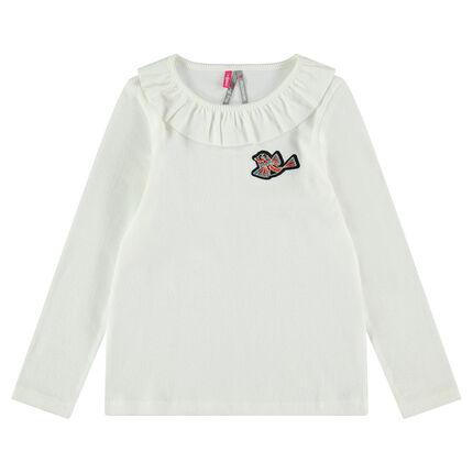 Camiseta de manga larga con acanalado con parche de pájaro y cuello con volantes