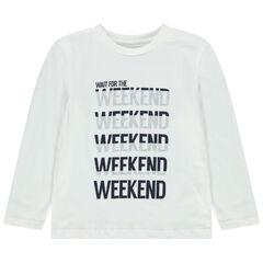 T-shirt manches longues en coton bio à message printé , Orchestra