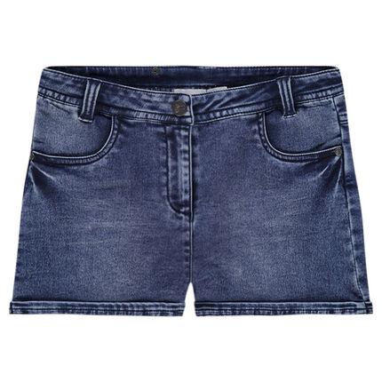 Shorts vaqueros con efecto desgastado y bolsillos