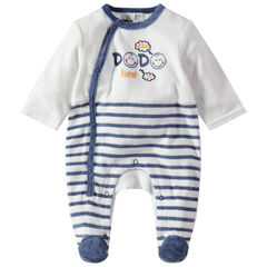 Pijama de terciopelo con rayas y estampados de Smiley