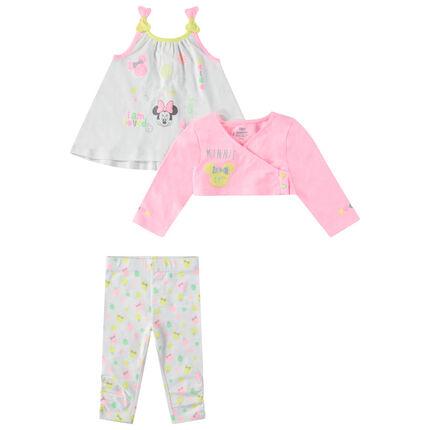 Conjunto con túnica de tirantes, torera y leggings estampados de Minnie ©Disney