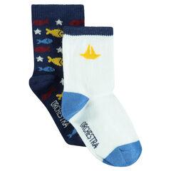 Juego de 2 pares de calcetines variados lisos/estampados