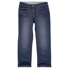 Jeans de corte recto efecto usado