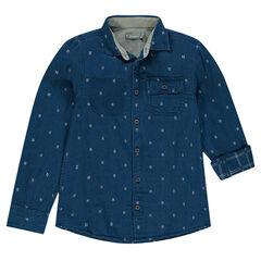 Júnior - Camisa de manga larga y pequeño dibujo all over
