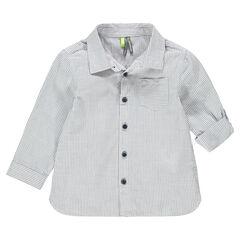Camisa de manga larga con rayas finas all-over