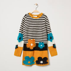 Robe manches longues en tricot à rayures et fleurs en jacquard