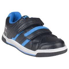 Zapatillas de deporte de aspecto cuero de cañas bajas con velcro con bordados