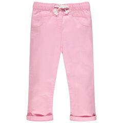 Pantalón de tela rosa con cintura elástica