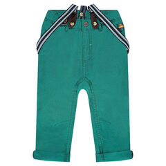Pantalón de tela lisa con tirantes desmontables a rayas