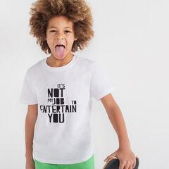 Júnior - Camiseta de punto de manga corta con mensaje estampado