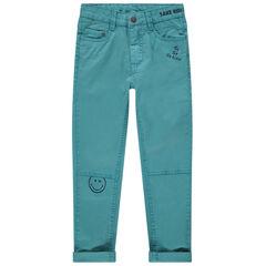 Pantalón de algodón azul con bolsillos Smiley