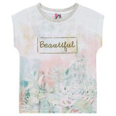 Júnior - Camiseta de manga corta con forma cuadrada y estampado de flores