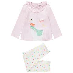 Pijama de punto con lama bordado y detalles de relieve