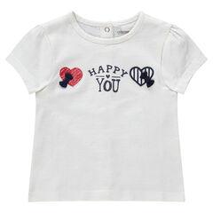 Camiseta de manga corta de punto con corazones bordados y lazos