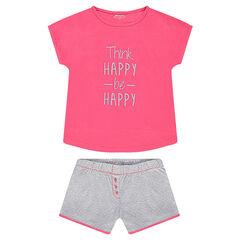 Júnior - Pijama de punto con mensaje estampado y pantalón de lunares all over