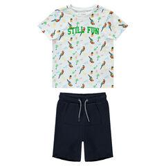 Conjunto con camiseta con estampado de loro y bermudas lisas