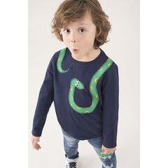 Camiseta de manga larga de punto con dibujo de serpiente