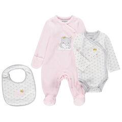 Juego para recién nacido con pijama de terciopelo, body de manga larga y babero