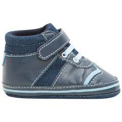 Zapatillas bajas de dos materiales con cordones y velcro