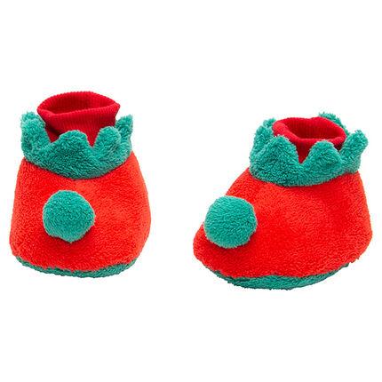 Zapatillas de terciopelo con duende de Navidad