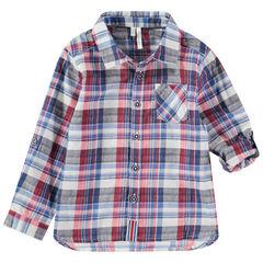 Camisa de manga larga remangable de cuadros y bolsillo