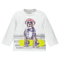 Camiseta manga larga de tejido de punto de color liso estampado fantasía