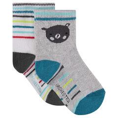 Juego de 2 pares de calcetines con dibujo de oso/a rayas