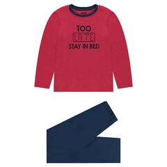 Júnior - Pijama de punto bicolor con mensaje estampado