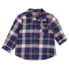 Camisa de manga larga de cuadros con bolsillo